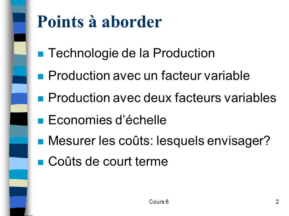 Cours 613 n Observations: –Quand le produit marginal (MP) = 0, le produit total (TP) est au maximum –Quand le produit marginal (MP) > le produit moyen (AP), AP est croissant –Quand le produit marginal (MP) < le produit moyen (AP), AP est décroissant –Quand le produit marginal (MP) = AP, le produit moyen (AP), AP est maximum Production à un facteur variable (travail)