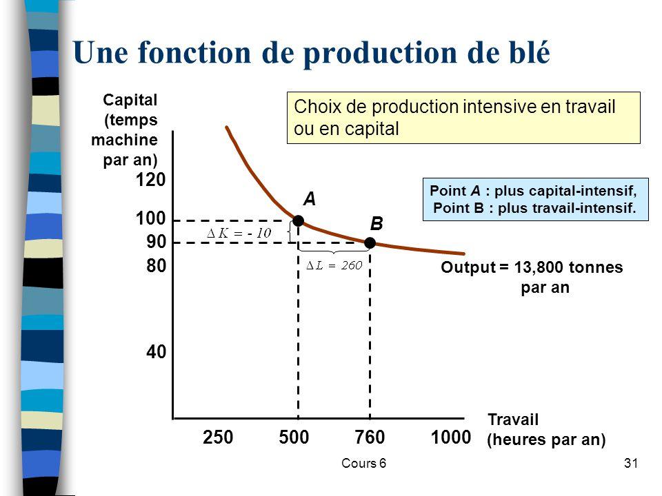 Cours 631 Une fonction de production de blé Travail (heures par an) Capital (temps machine par an) 2505007601000 40 80 120 100 90 Output = 13,800 tonnes par an A B Point A : plus capital-intensif, Point B : plus travail-intensif.