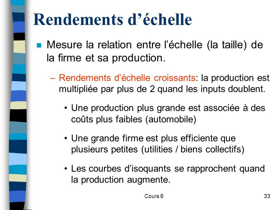 Cours 633 Rendements déchelle n Mesure la relation entre léchelle (la taille) de la firme et sa production.