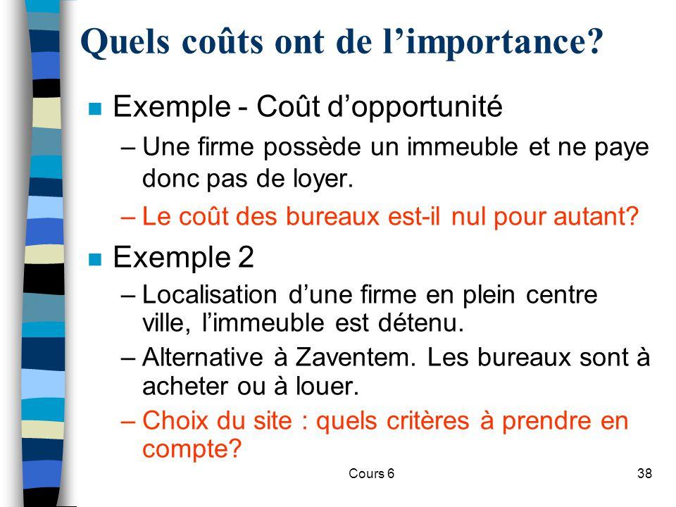 Cours 638 n Exemple - Coût dopportunité –Une firme possède un immeuble et ne paye donc pas de loyer.