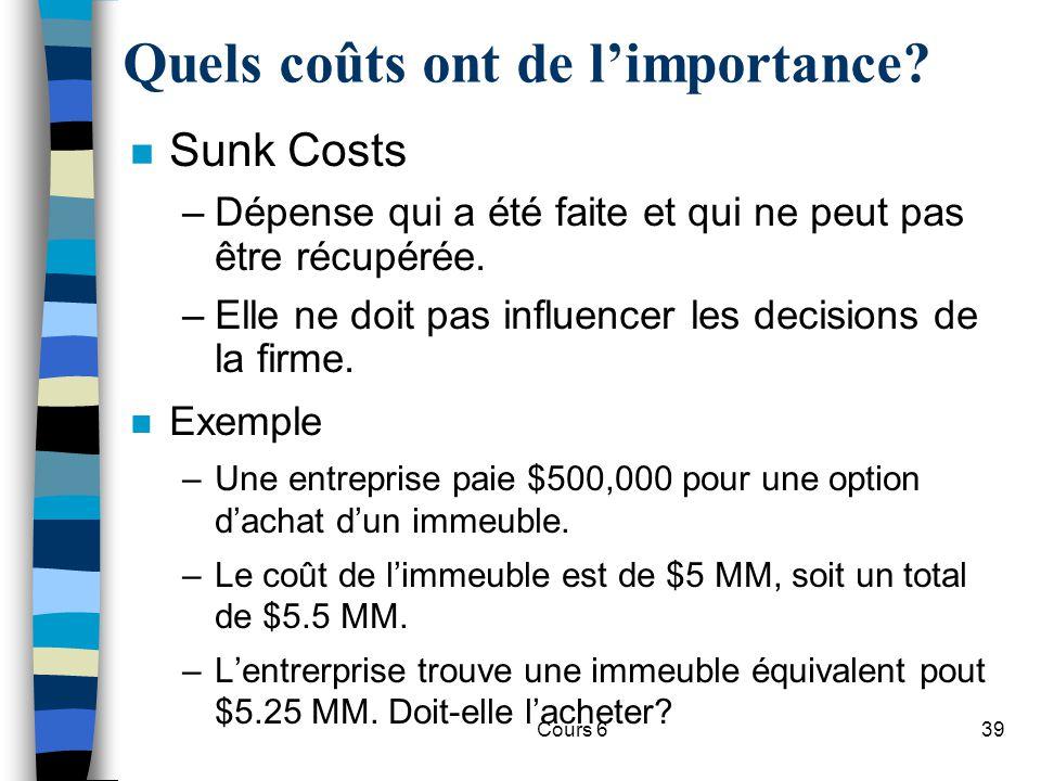 Cours 639 n Sunk Costs –Dépense qui a été faite et qui ne peut pas être récupérée.