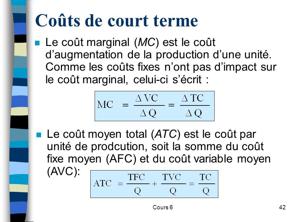 Cours 642 Coûts de court terme n Le coût marginal (MC) est le coût daugmentation de la production dune unité.