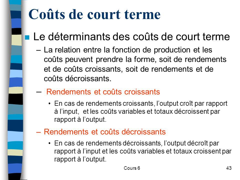 Cours 643 Coûts de court terme n Le déterminants des coûts de court terme –La relation entre la fonction de production et les coûts peuvent prendre la forme, soit de rendements et de coûts croissants, soit de rendements et de coûts décroissants.