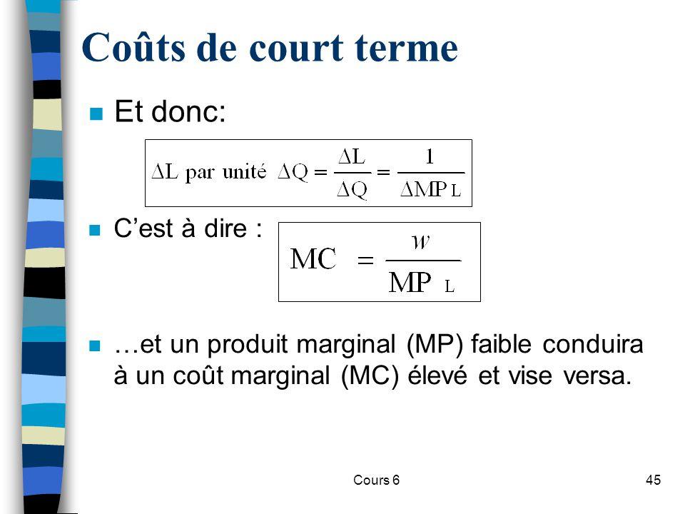 Cours 645 Coûts de court terme n Et donc: n Cest à dire : n …et un produit marginal (MP) faible conduira à un coût marginal (MC) élevé et vise versa.