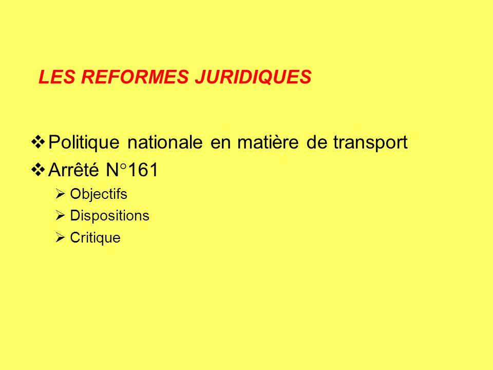 LES REFORMES JURIDIQUES Politique nationale en matière de transport Arrêté N°161 Objectifs Dispositions Critique