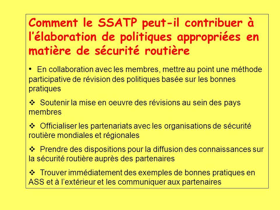 Comment le SSATP peut-il contribuer à lélaboration de politiques appropriées en matière de sécurité routière En collaboration avec les membres, mettre au point une méthode participative de révision des politiques basée sur les bonnes pratiques Soutenir la mise en oeuvre des révisions au sein des pays membres Officialiser les partenariats avec les organisations de sécurité routière mondiales et régionales Prendre des dispositions pour la diffusion des connaissances sur la sécurité routière auprès des partenaires Trouver immédiatement des exemples de bonnes pratiques en ASS et à lextérieur et les communiquer aux partenaires