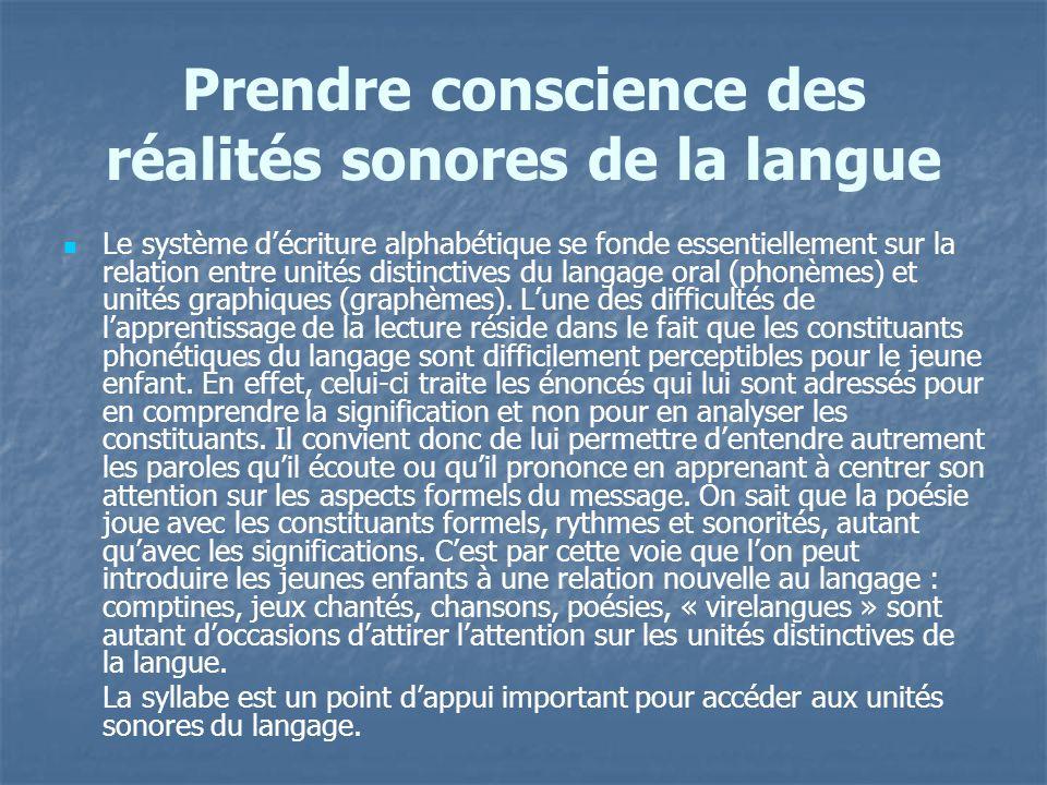 Prendre conscience des réalités sonores de la langue Le système décriture alphabétique se fonde essentiellement sur la relation entre unités distincti