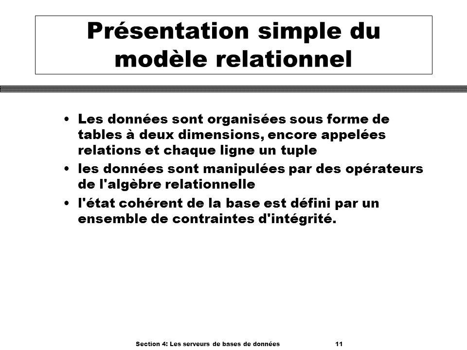 Section 4: Les serveurs de bases de données 11 Présentation simple du modèle relationnel Les données sont organisées sous forme de tables à deux dimen
