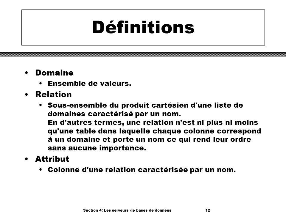Section 4: Les serveurs de bases de données 12 Définitions Domaine Ensemble de valeurs. Relation Sous-ensemble du produit cartésien d'une liste de dom