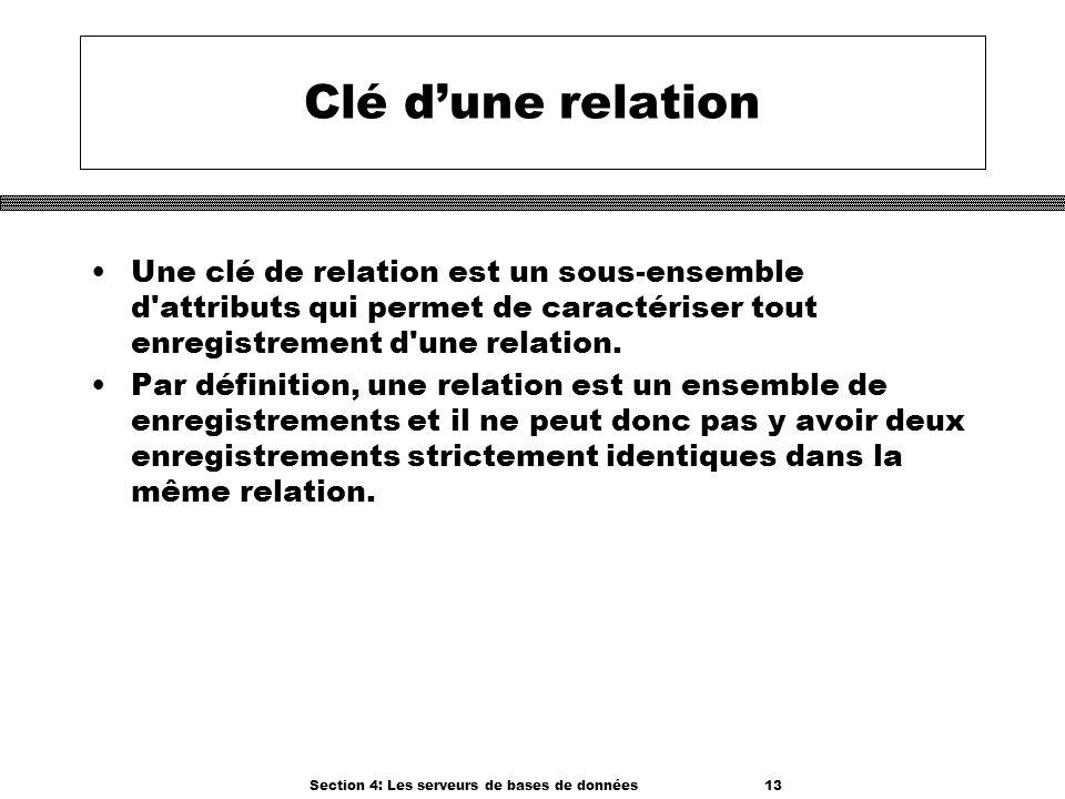 Section 4: Les serveurs de bases de données 13 Clé dune relation Une clé de relation est un sous-ensemble d'attributs qui permet de caractériser tout