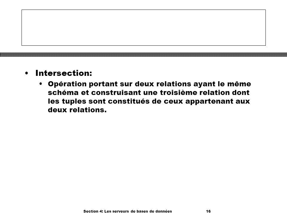 Section 4: Les serveurs de bases de données 16 Intersection: Opération portant sur deux relations ayant le même schéma et construisant une troisième r