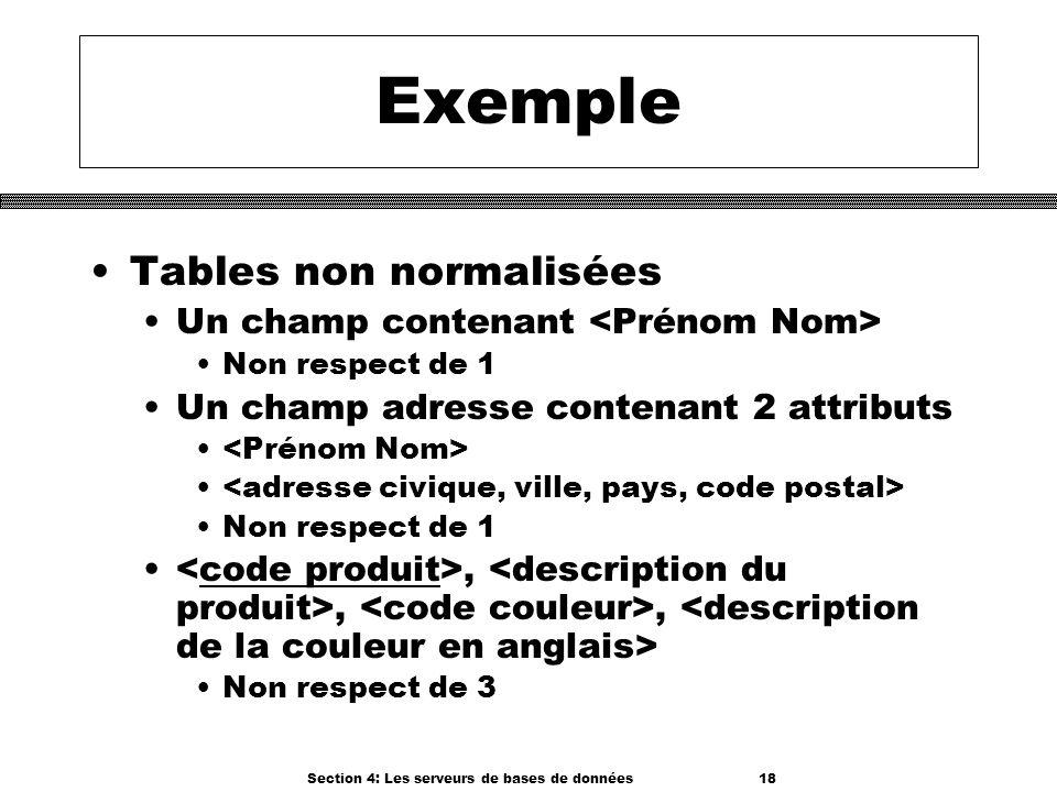 Section 4: Les serveurs de bases de données 18 Exemple Tables non normalisées Un champ contenant Non respect de 1 Un champ adresse contenant 2 attribu
