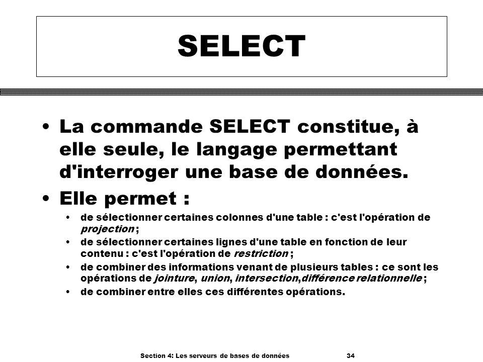 Section 4: Les serveurs de bases de données 34 SELECT La commande SELECT constitue, à elle seule, le langage permettant d'interroger une base de donné