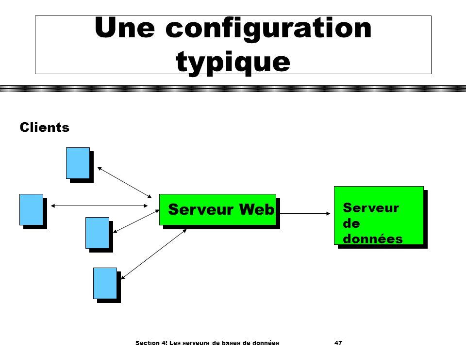 Section 4: Les serveurs de bases de données 47 Une configuration typique Serveur Web Serveur de données Clients