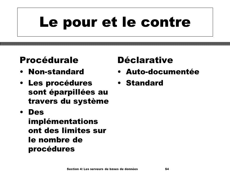 Section 4: Les serveurs de bases de données 54 Le pour et le contre Procédurale Non-standard Les procédures sont éparpillées au travers du système Des