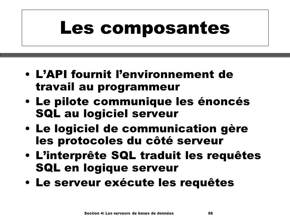 Section 4: Les serveurs de bases de données 56 Les composantes LAPI fournit lenvironnement de travail au programmeur Le pilote communique les énoncés