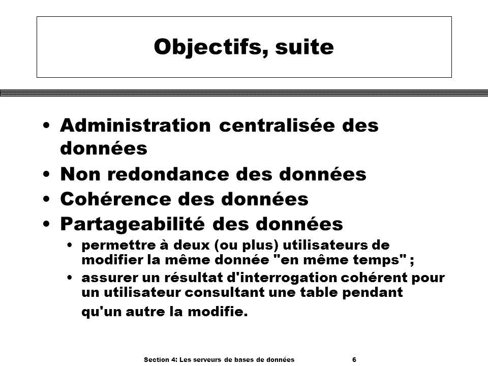 Section 4: Les serveurs de bases de données 6 Objectifs, suite Administration centralisée des données Non redondance des données Cohérence des données