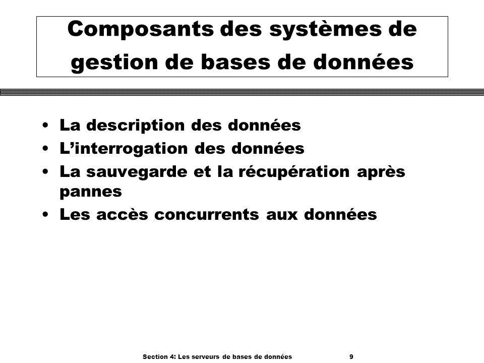 Section 4: Les serveurs de bases de données 9 Composants des systèmes de gestion de bases de données La description des données Linterrogation des don