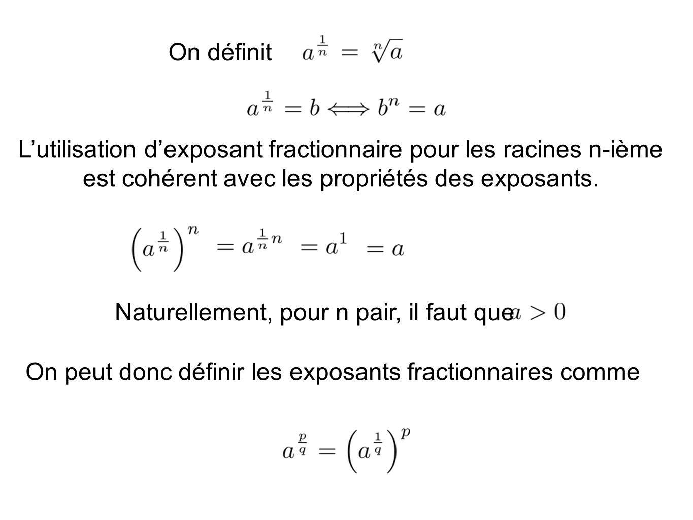 On définit Lutilisation dexposant fractionnaire pour les racines n-ième est cohérent avec les propriétés des exposants. Naturellement, pour n pair, il