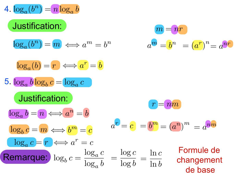 Remarque: Formule de changement de base Justification: 4.4. 5.5.