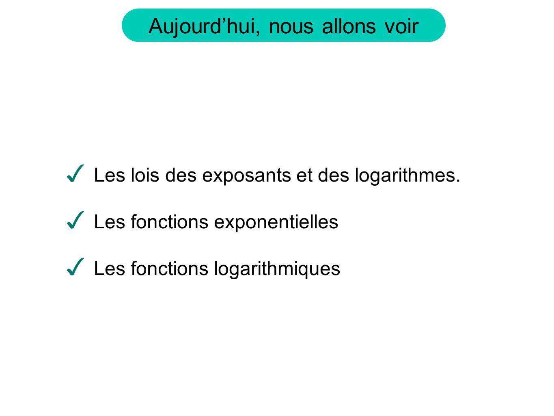 Aujourdhui, nous allons voir Les lois des exposants et des logarithmes. Les fonctions exponentielles Les fonctions logarithmiques
