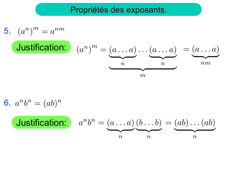 On définit Lutilisation dexposant fractionnaire pour les racines n-ième est cohérent avec les propriétés des exposants.