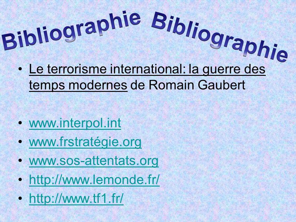 Le terrorisme international: la guerre des temps modernes de Romain Gaubert www.interpol.int www.frstratégie.org www.sos-attentats.org http://www.lemo