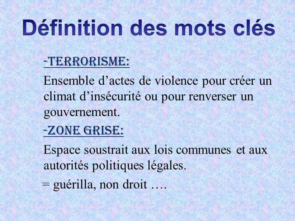 -Terrorisme: Ensemble dactes de violence pour créer un climat dinsécurité ou pour renverser un gouvernement. -Zone grise: Espace soustrait aux lois co