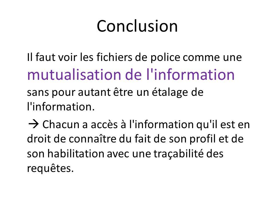 Conclusion Il faut voir les fichiers de police comme une mutualisation de l'information sans pour autant être un étalage de l'information. Chacun a ac