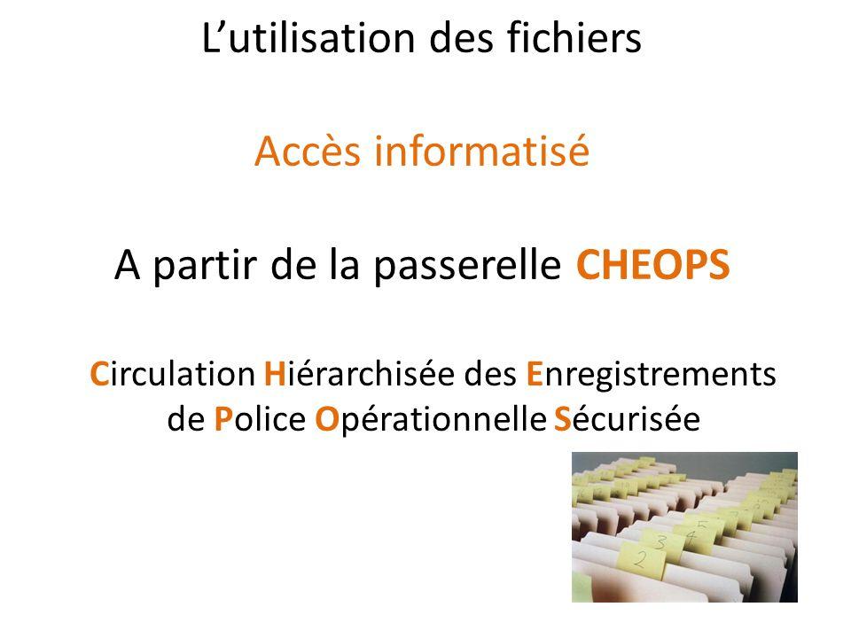 Lutilisation des fichiers Accès informatisé A partir de la passerelle CHEOPS Circulation Hiérarchisée des Enregistrements de Police Opérationnelle Séc