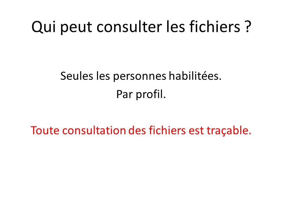 Qui peut consulter les fichiers ? Seules les personnes habilitées. Par profil. Toute consultation des fichiers est traçable.