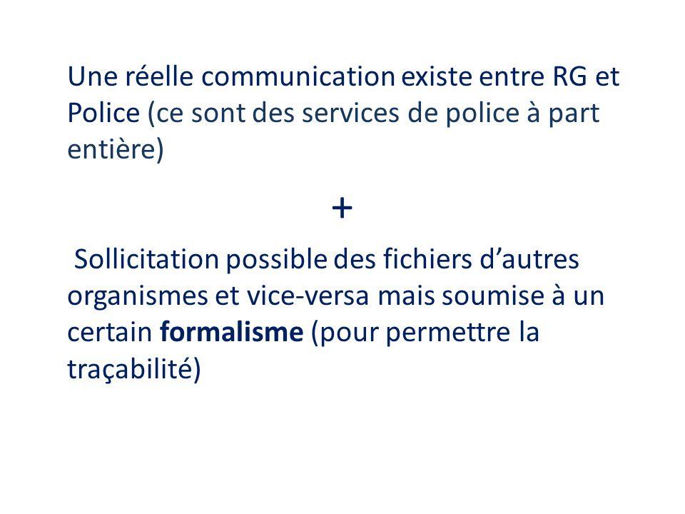 Une réelle communication existe entre RG et Police (ce sont des services de police à part entière) + Sollicitation possible des fichiers dautres organ