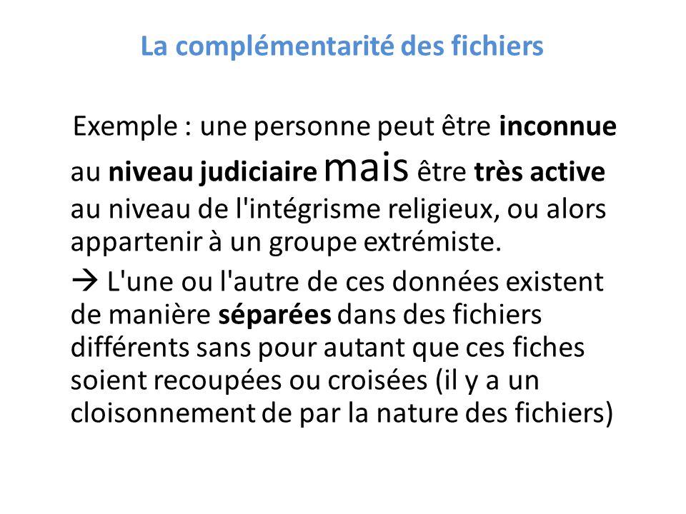 La complémentarité des fichiers Exemple : une personne peut être inconnue au niveau judiciaire mais être très active au niveau de l'intégrisme religie