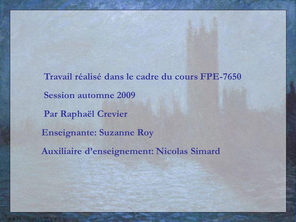 Travail réalisé dans le cadre du cours FPE-7650 Par Raphaël Crevier Enseignante: Suzanne Roy Auxiliaire denseignement: Nicolas Simard Session automne