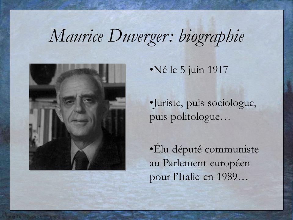 Maurice Duverger: biographie Né le 5 juin 1917 Juriste, puis sociologue, puis politologue… Élu député communiste au Parlement européen pour lItalie en