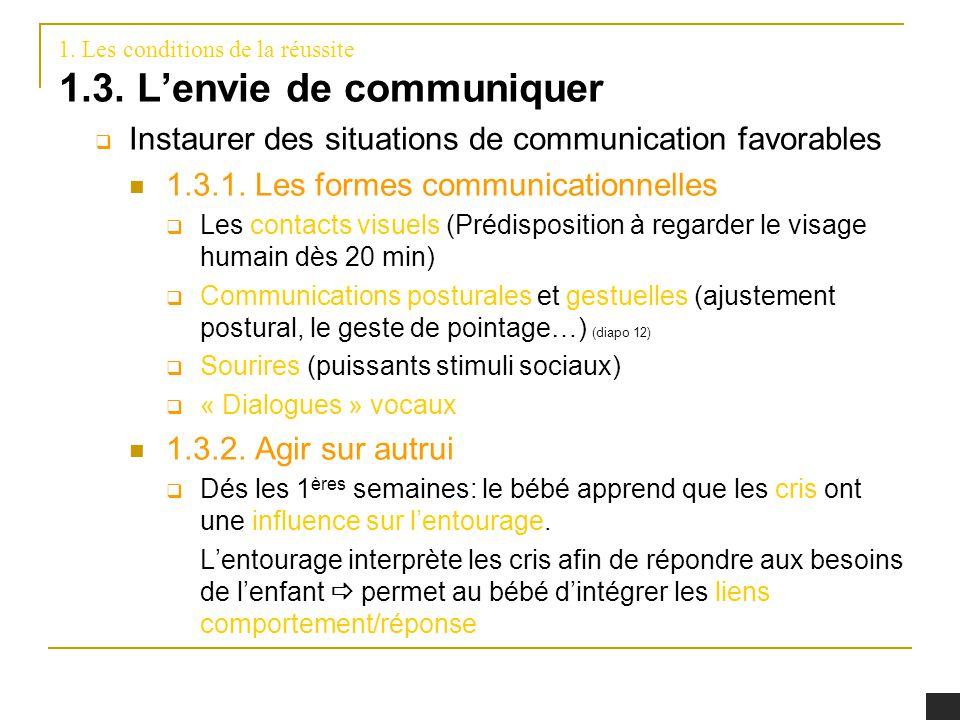 1. Les conditions de la réussite 1.3. Lenvie de communiquer Instaurer des situations de communication favorables 1.3.1. Les formes communicationnelles