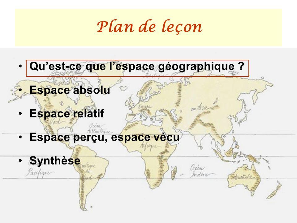 Plan de leçon Quest-ce que lespace géographique ? Espace absolu Espace relatif Espace perçu, espace vécu Synthèse