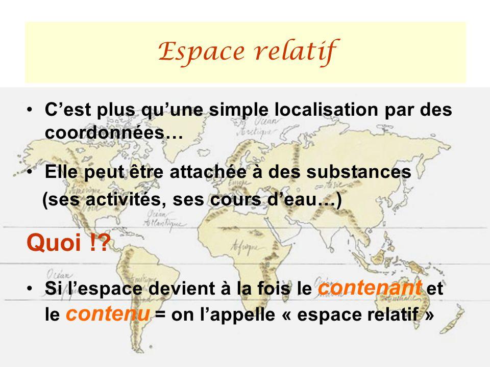Cest plus quune simple localisation par des coordonnées… Elle peut être attachée à des substances (ses activités, ses cours deau…) Quoi !? Si lespace