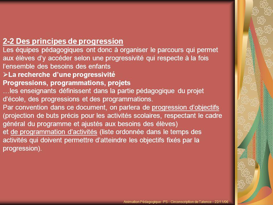 2-2 Des principes de progression Les équipes pédagogiques ont donc à organiser le parcours qui permet aux élèves dy accéder selon une progressivité qu