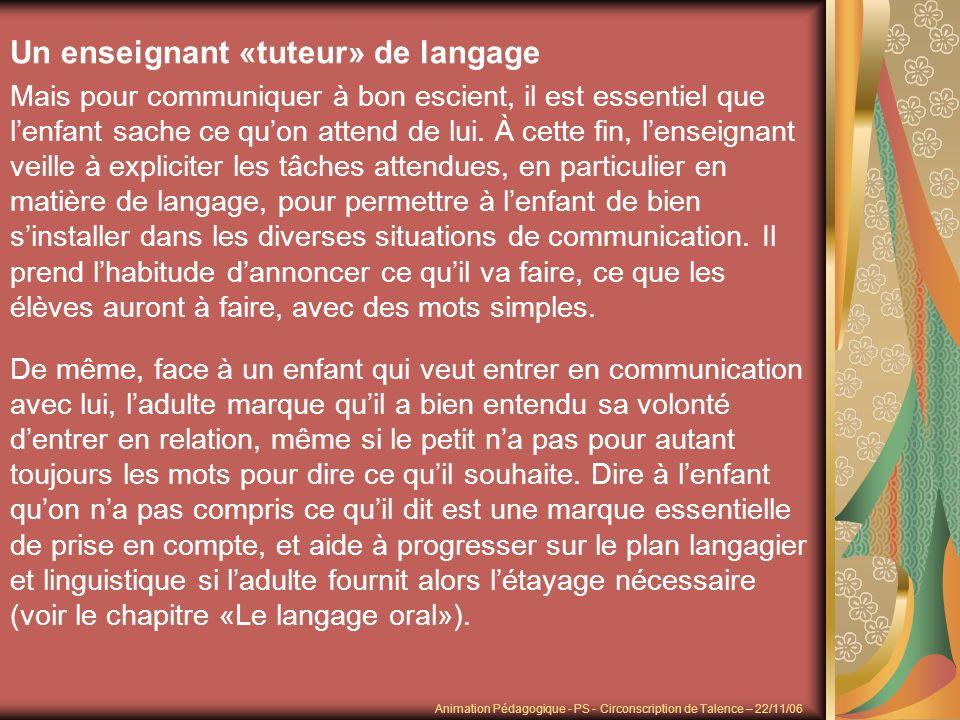 Un enseignant «tuteur» de langage Mais pour communiquer à bon escient, il est essentiel que lenfant sache ce quon attend de lui. À cette fin, lenseign