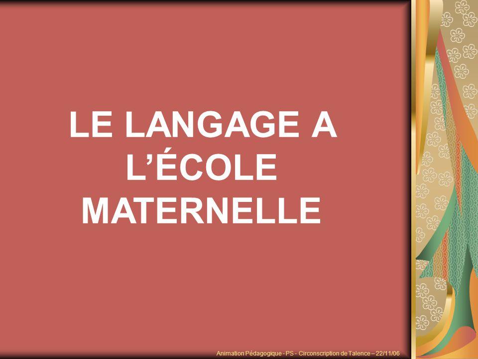 Objectifs du document : « Fonder une pédagogie du langage très structurée » Organisation du doc : - 1 er chapitre nous donne à réfléchir « En quoi le langage est un objet dapprentissage .