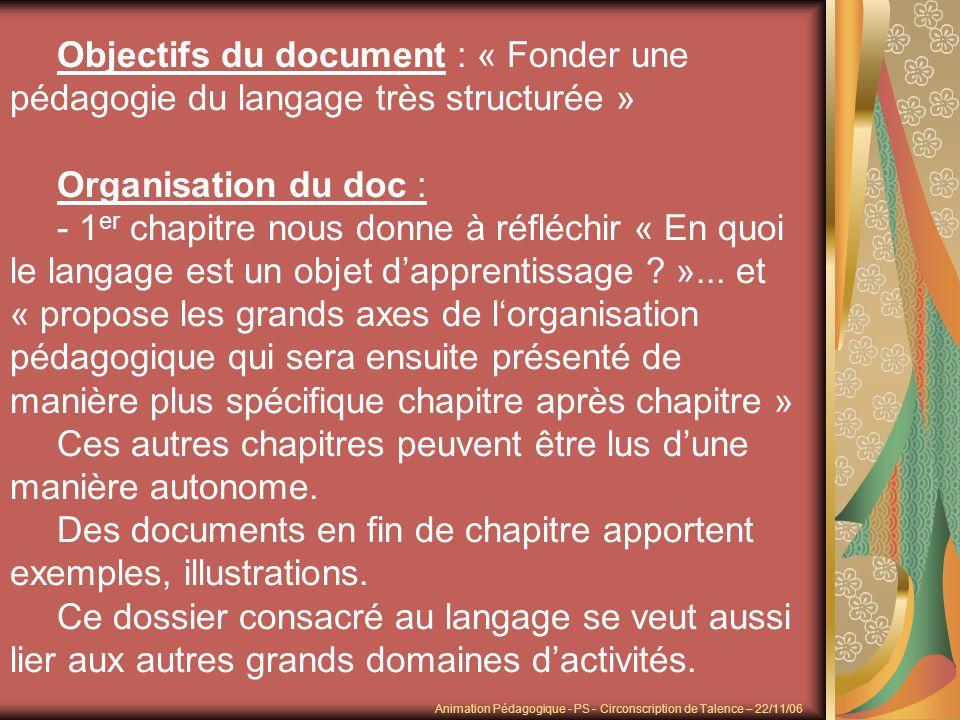 Objectifs du document : « Fonder une pédagogie du langage très structurée » Organisation du doc : - 1 er chapitre nous donne à réfléchir « En quoi le