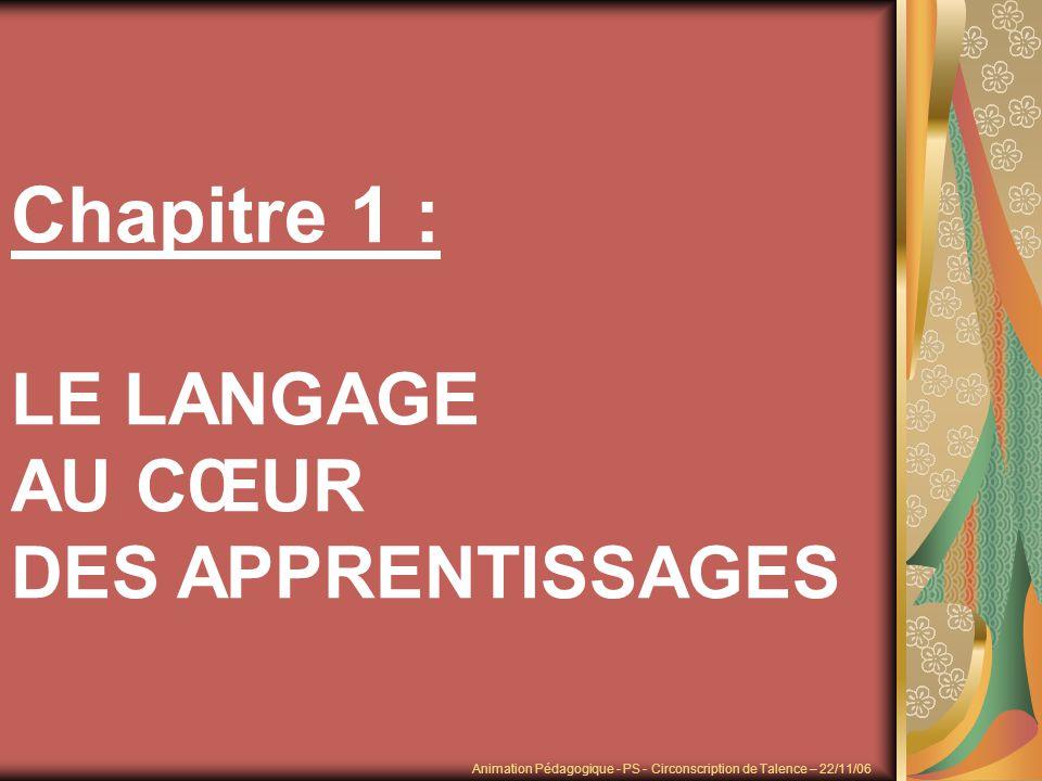Pour la première fois dans les programmes et/ou les instructions officielles, le langage constitue à lécole maternelle le premier des domaines dactivités parce que les difficultés scolaires et les inégalités trouvent leur source dans le maniement de la langue et du langage.