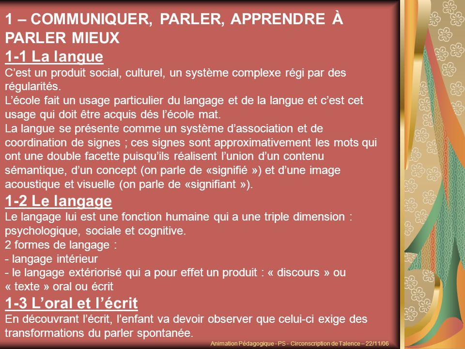 1 – COMMUNIQUER, PARLER, APPRENDRE À PARLER MIEUX 1-1 La langue Cest un produit social, culturel, un système complexe régi par des régularités. Lécole