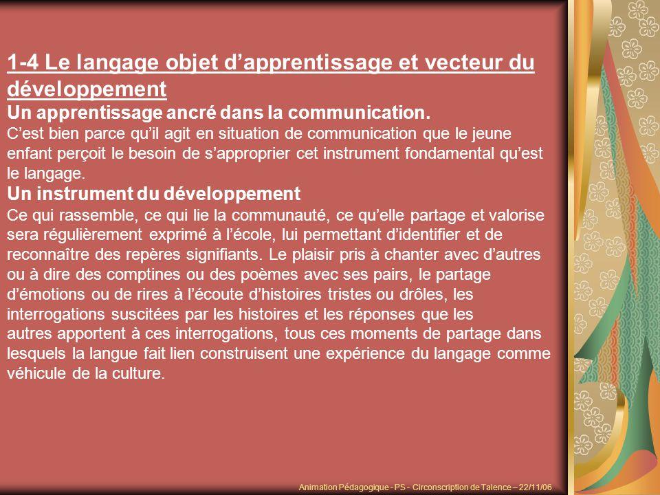 1-4 Le langage objet dapprentissage et vecteur du développement Un apprentissage ancré dans la communication. Cest bien parce quil agit en situation d