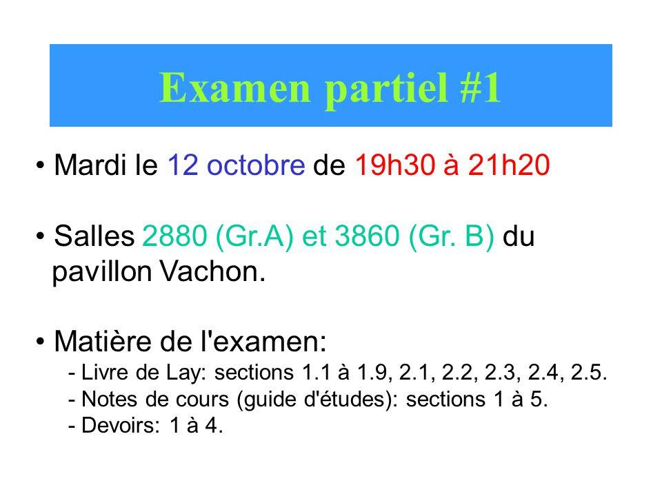 Examen partiel #1 Mardi le 12 octobre de 19h30 à 21h20 Salles 2880 (Gr.A) et 3860 (Gr. B) du pavillon Vachon. Matière de l'examen: - Livre de Lay: sec