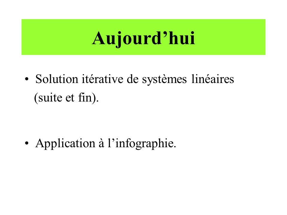 Aujourdhui Solution itérative de systèmes linéaires (suite et fin). Application à linfographie.