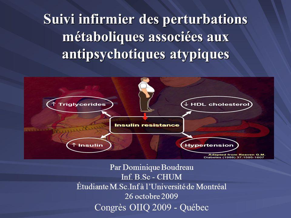 Suivi infirmier des perturbations métaboliques associées aux antipsychotiques atypiques Par Dominique Boudreau Inf. B.Sc - CHUM Étudiante M.Sc.Inf à l