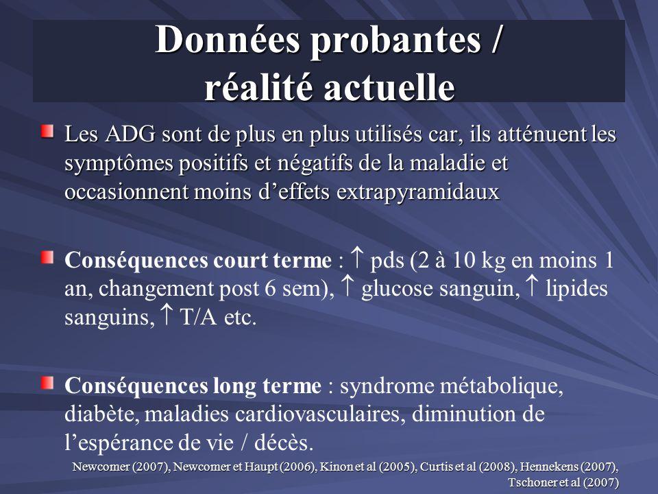 Données probantes / réalité actuelle Les ADG sont de plus en plus utilisés car, ils atténuent les symptômes positifs et négatifs de la maladie et occa