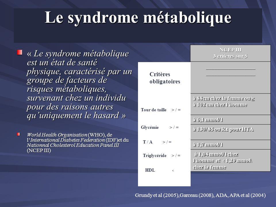Le syndrome métabolique « Le syndrome métabolique est un état de santé physique, caractérisé par un groupe de facteurs de risques métaboliques, surven